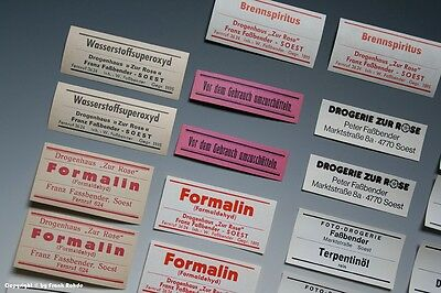 26 x Etiketten für Apotheken Flaschen um 1900-1970