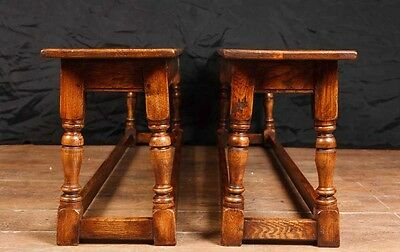 Pair Oak Farmhouse Benches Seats Refectory Bench 3