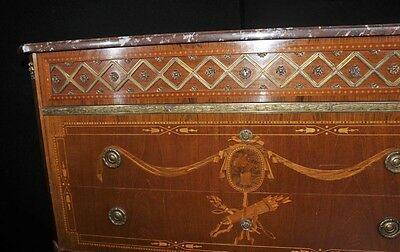 Antique French Empire Chest Drawers Commode Circa 1920 Marquetry Inlay 3