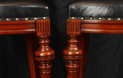 Pair Victorian Hand Carved Mahogany Bar Stools Seats 6