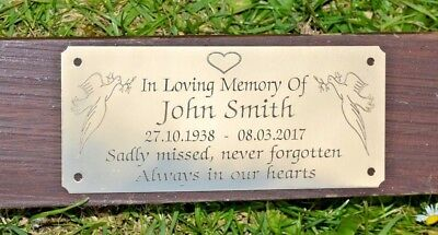 """Solid Brass Memorial Bench Plaque Grave Marker Sign 5""""X2"""" Personalised Engraved 2"""