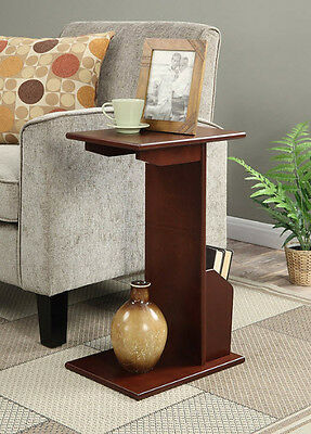 SMALL END TABLE Modern Wood Living Room Magazines Pedestal ...