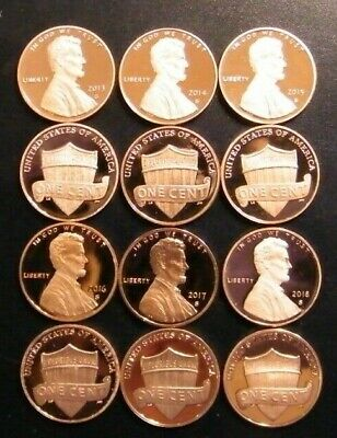2013 2014 2015 2016 2017 2018 2019 S Lincoln Shield Cent Gem Proof Penny Set 5