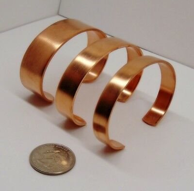 "Pure Raw COPPER CUFF Bracelet Blanks 1/4"" 3/8"" 1/2"" 3/4"" wide ~As-is / Embellish 2"