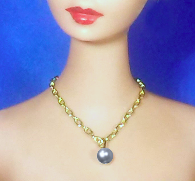Barbie Dreamz PURPLE DROP PEARL NECKLACE Chain Pendant Doll Jewelry
