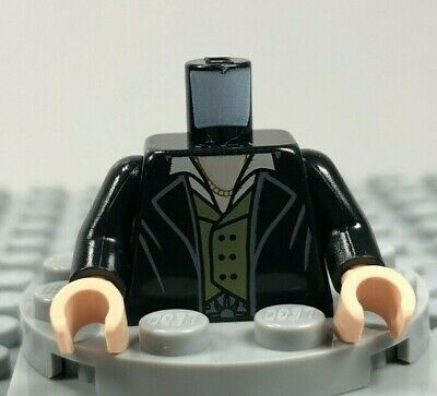 LEGO Male Minifigure Torso Black Coat Lapels Olive Green Vest White Collar