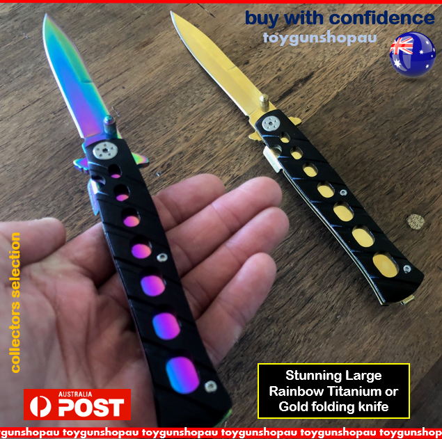 Large Rainbow Titanium Knife & Gold Pocket Knife Folding Hunting Camping KNIFE 3