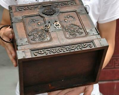 """10"""" Old china Boxwood wood carving flower bird Magpie Storage Box Jewelry boxes 11"""