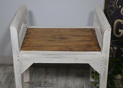 Bench Seat Seater Settee Chair French White Ottoman Wood Vintage Retro Antique 3