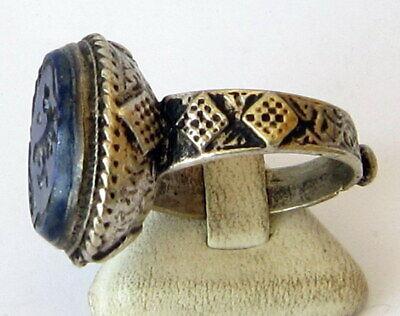 Antique Amazing Ottoman Silver Lapis Lazuli Intaglio Gem Personal Seal Ring # 31 6