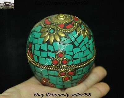 Old Tibet Tibetan Nation Bronze inlay Turquoise coral Jewelry Box Rouge boxes 3