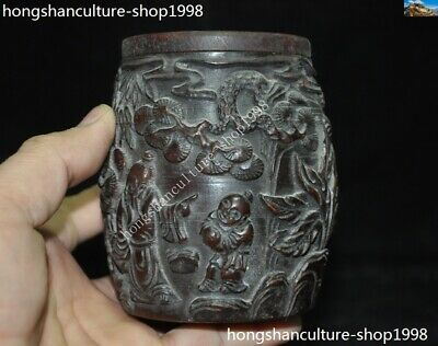 Marked Chinese Dynasty Ox horn Carved Pine tree Old Man Drum shape Box Boxes 9