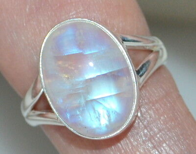 925 Sterling SILVER Rainbow Moonstone Ring Real Gemstone Jewellery, Sizes L to Z 4