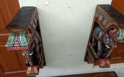 Elephant Wall Corbel Pair Handcarved Wooden Bracket Sculpture Estate Home Decor 6