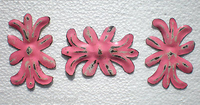 Primitive Antique Victorian Ceiling Tin Ornament Pink Bow Chic 3