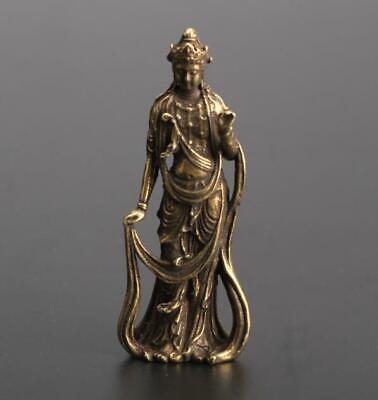 Chinese Asian antique Pure brass Guanyin bodhisattva Buddha small pendant Gift 4