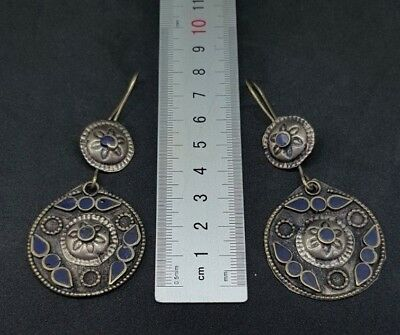 Old Beautiful silver plated lapis lazuli Earrings From Afghanistan 3
