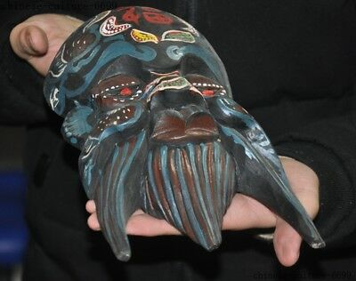"""10""""  Rare Old China Wood Painting Hand Carving Shouxing Immortal God Mask Statue 8"""