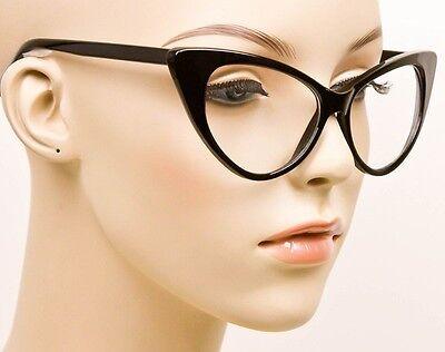 19441f6cacd3 ... SEXY Cat Eye Glossy Black Pin Up Fashion Clear Eye Glasses Hot Diva Frames  1377 3