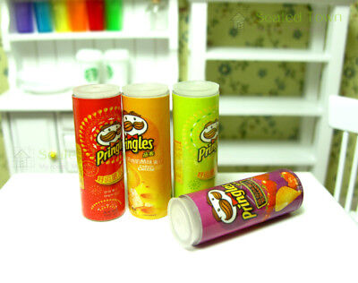 4pcs Dollhouse Miniature Chips Potato Food Grocery Snack Jars Accessory Re-ment 2