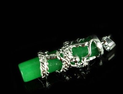 Chinese Exquisite  Malay jade Pendant Green Dragon 3