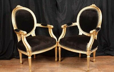 Pair French Empire Gilt Arm Chairs Fauteils 3
