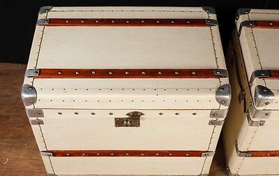 Pair White Leather English Luggage Trunks Boxes Side Tables 8