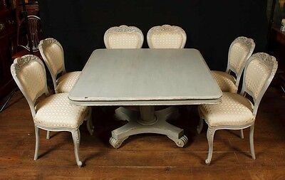 Set 8 French Provincial Painted Dining Chairs Rustic Furniture 7