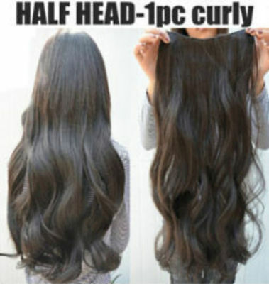"""Hair Extensions Real Thick 1PCS Half Head Clip In Long 18-28"""" feels human purple 8"""