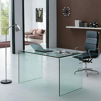 SCRITTOIO SCRIVANIA VETRO curvo Glassy 120 - ufficio, tavolo da ...