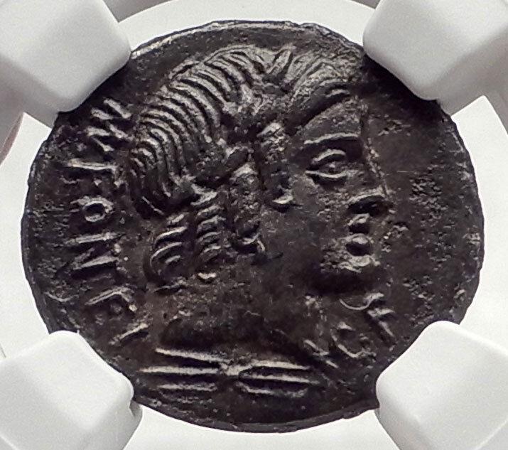 Roman Republic 85BC Ancient Silver Coin VEJOVIS Genius Zeus Mom Goat NGC i71031 2