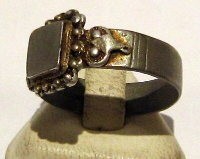 Amazing Medieval Or Post-Medieval Silver Ring With Gold Plated # 81B 4