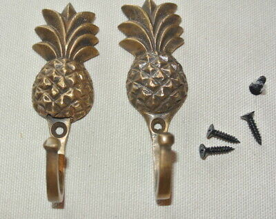 "4 very small PINEAPPLE BRASS HOOK COAT WALL MOUNTED HANG old style hook 3"" 8"