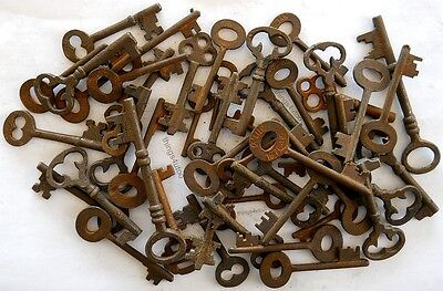 Rusty ornate Skeleton 1800's keys 50 pc lot steampunk #220750 3