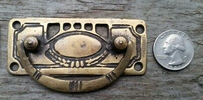 """6 Arts and Crafts antique style brass handles pulls hardware  3 1/8""""w #H33"""