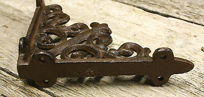 4 Cast Iron Antique Style HD Brackets Garden Braces RUSTIC Shelf Bracket 2