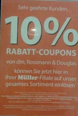 12 Stück 10 % Rossmann Coupons Gutscheine ggf. für DM, Müller 30.06.2019 Juni 2