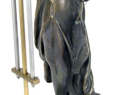 Beautiful Ansonia Cut 8 Day Movement Brass Fisher Lady Mystery Swinger Clock 8