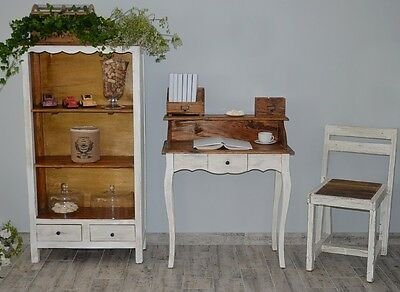 French Style Secretary Table Dressing Table Wood Oak White Vintage Retro 4