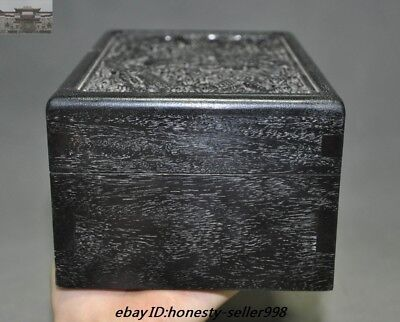 "8""Old Chinese Palace Rosewood Wood Carved Dragon Totem Jewelry Boxstorage boxes 3"