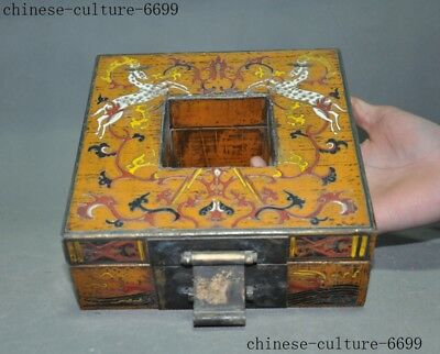 "7"" Rare old Chinese lacquerware wood carving Sika deer Storage Jewelry box case 6"