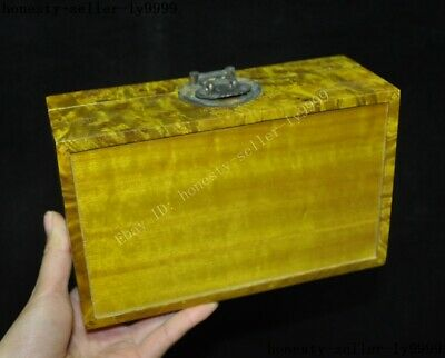 Old China palace Gold-rimmed nanmu Wood carved statue Jewelry Box storage boxes 8