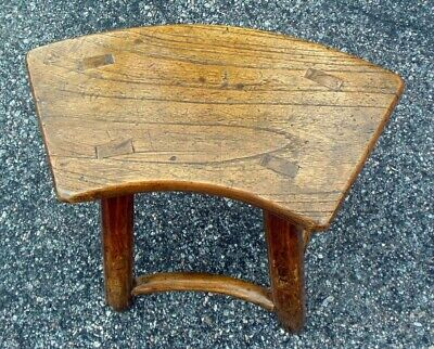 Antique Chinese Chestnut Bench Table Chair 18-19th C. Curved Seat 8