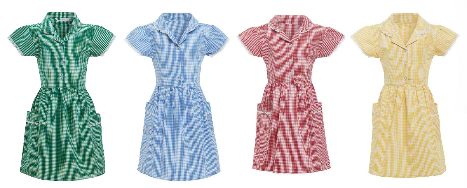78d1f54401 Girls School Dress Ex Marks and Spencer 100% Cotton Gingham Check Lace  Collar 2 2 of 2 See More