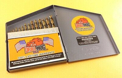 Drill Hog® 13 Pc COBALT Drill Bit Set Index Cobalt Bits M42 Lifetime Warranty 3
