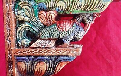 "Elephant Peacock Wall Bracket 24"" Corbel Pair Painted Wooden Sculpture Statue US 6"