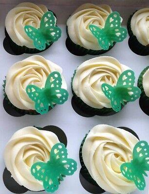 """24 x Macmillan Mix 1.5"""" PLUS x12  Butterflies PRE CUT Edible Cake Toppers 2"""