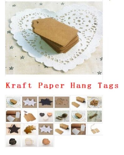 100Pcs BLANK Brown Kraft Paper Hang Tags with String Punch Label Price Cards ZY 3