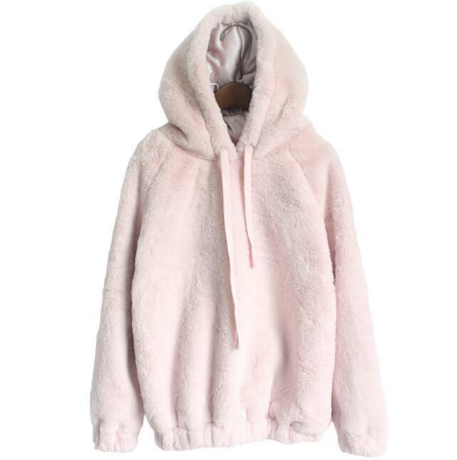 Womens Girls Blouse Sweet Rabbit Fur Hooded Warm Solid Casual Loose Fur Pullover 2