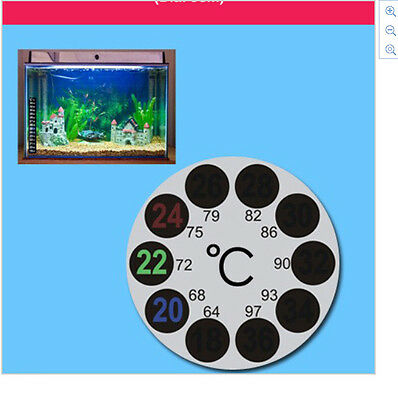 Round Fish Tank Aquarium Window Thermometer Sticker Stick On Adhesive